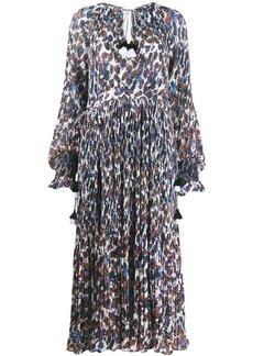 Derek Lam Nemea Pleated Speckled Floral Maxi dress