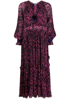 Derek Lam Nemea Pleated Speckled Floral Maxi Dress with Smocking Detail