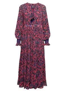 Derek Lam Nemea Print Pleated Midi Dress