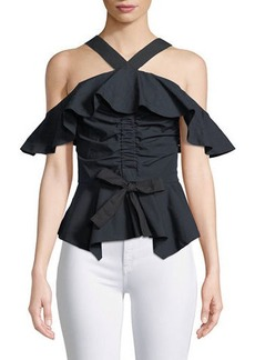 Derek Lam Off-the-Shoulder Halter Ruffled Top