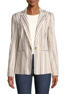 Derek Lam One-Button Striped Blazer Jacket