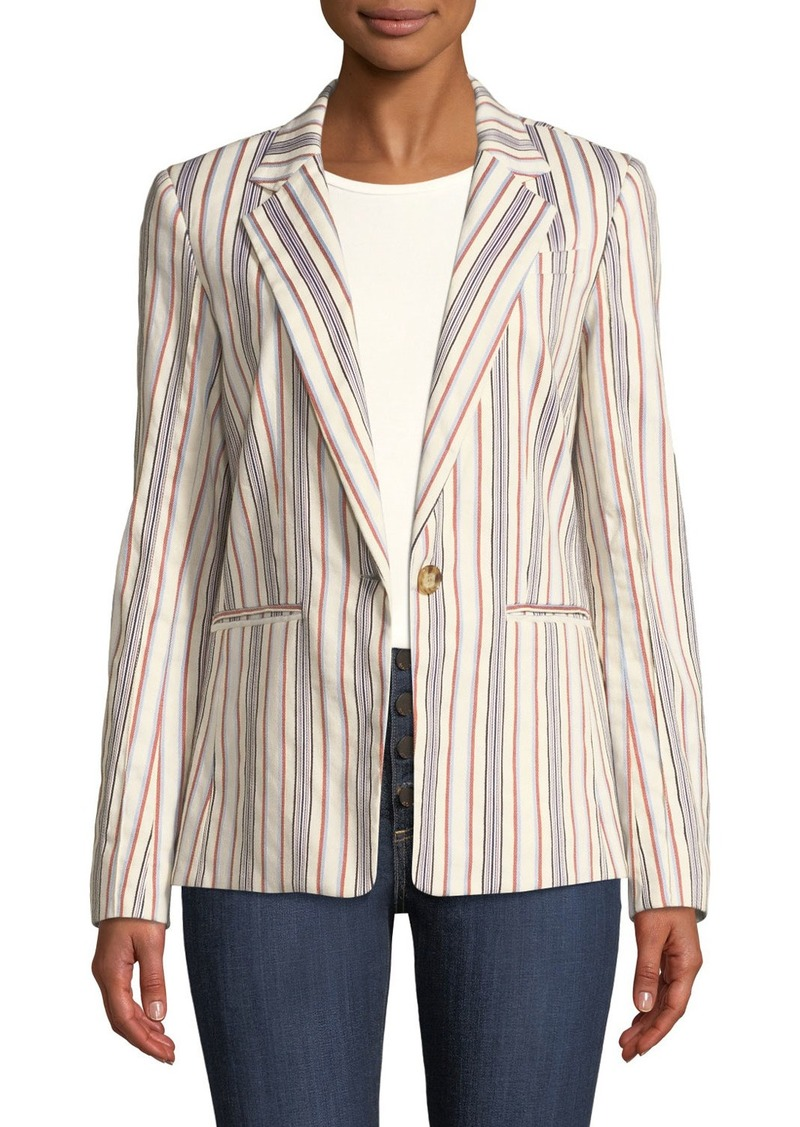 Derek Lam One-Button Striped Blazer Jacket