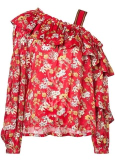 Derek Lam One-Shoulder Ruffle Bouquet Floral Print Silk-Blend Jacquard Blouse
