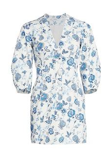 Derek Lam Ottilie Floral Puff-Sleeve Mini Dress