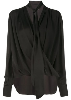 Derek Lam Oversized Long Sleeve Draped Georgette Wrap Blouse with Neck Ties