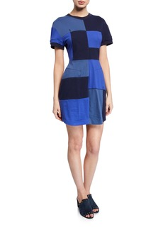 Derek Lam Patchwork Short-Sleeve T-Shirt Dress