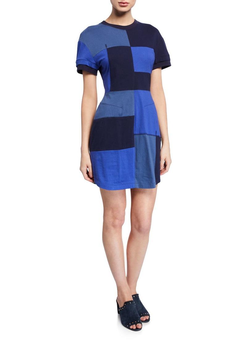 Derek Lam Patchwork Short-Sleeve T-Shirt Dress