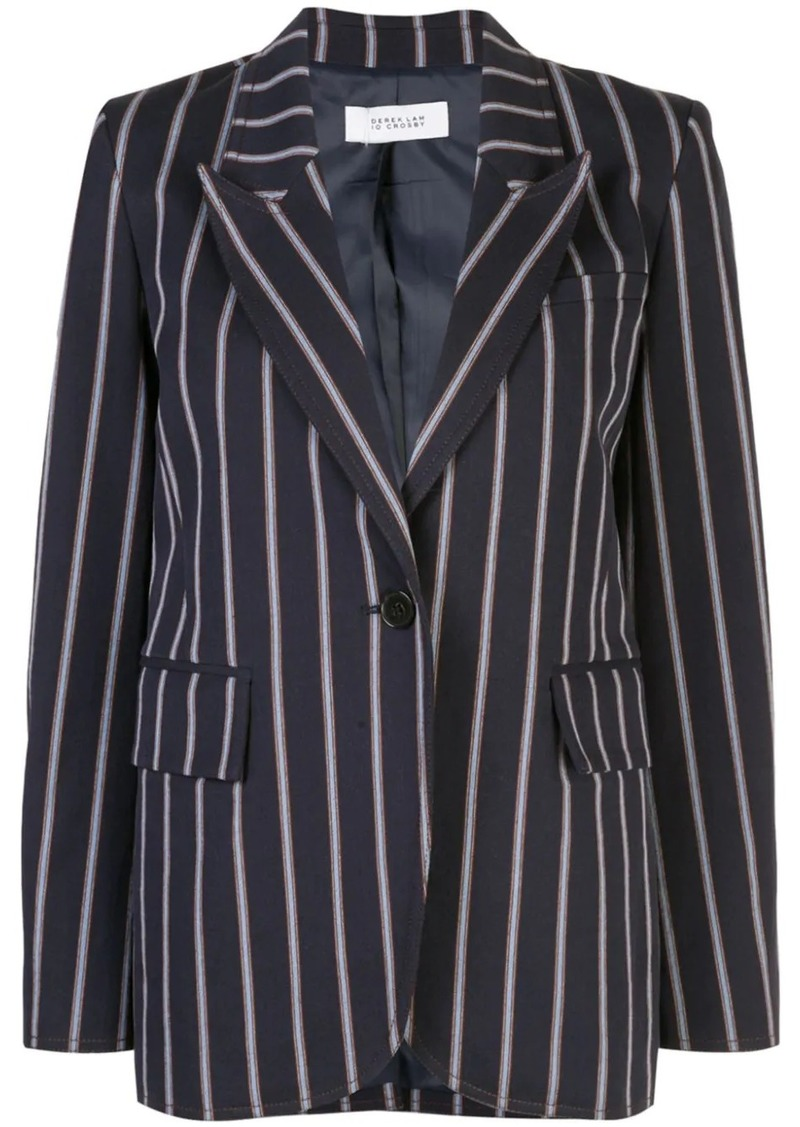 Pencil Striped Blazer with Contrast Rib Trim