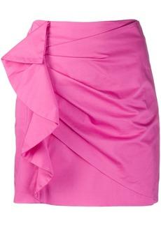 Derek Lam Perinne Asymmetrical Cotton Sateen Ruched Mini Skirt