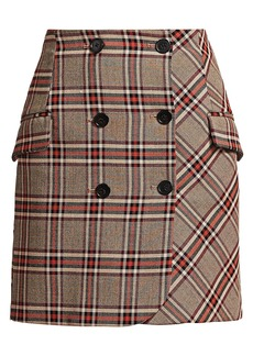 Derek Lam Plaid Double Breasted Skirt