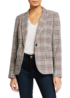 Derek Lam Plaid One-Button Blazer w/ Pockets