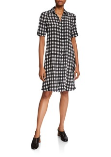 Derek Lam Plaid Short-Sleeve A-Line Dress