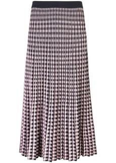 Derek Lam Pleated Gingham Jacquard Skirt