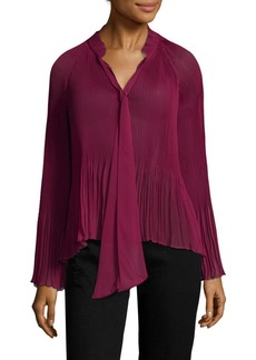 Derek Lam Pleated Long-Sleeve Blouse