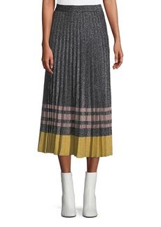 Derek Lam Pleated Metallic Knit Midi Skirt