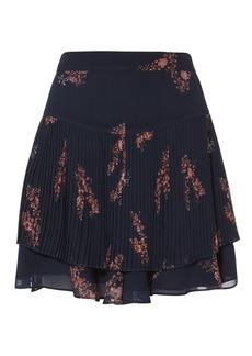 Derek Lam Pleated Navy Mini Skirt
