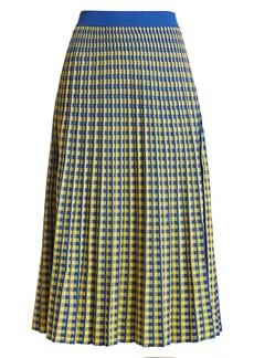Derek Lam Pleated Plaid Midi Skirt