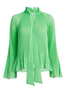 Derek Lam Pleated Tie Neck Blouse