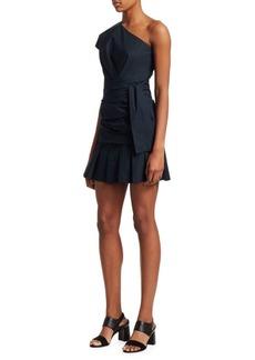 Derek Lam Poplin One-Shoulder Ruffled Mini Dress