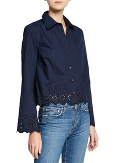 Derek Lam Poplin Shirt with Embroidery Detail