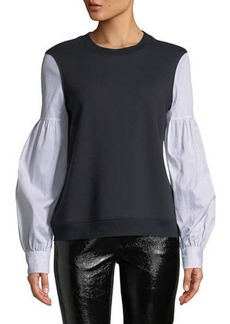 Derek Lam Poplin-Sleeve Crewneck Pullover Sweatshirt