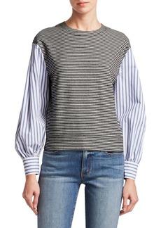 Derek Lam Poplin Sleeve Sweatshirt