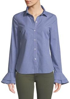 Derek Lam Printed Bell-Sleeve Button-Front Shirt
