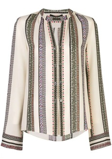 Derek Lam Printed Provincal Striped Kara Blouse with Button Detail