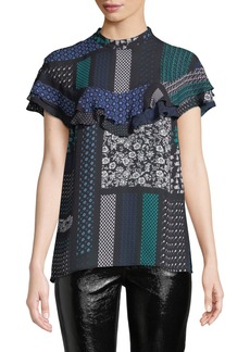 Derek Lam Printed Ruffle Button-Back Silk Top