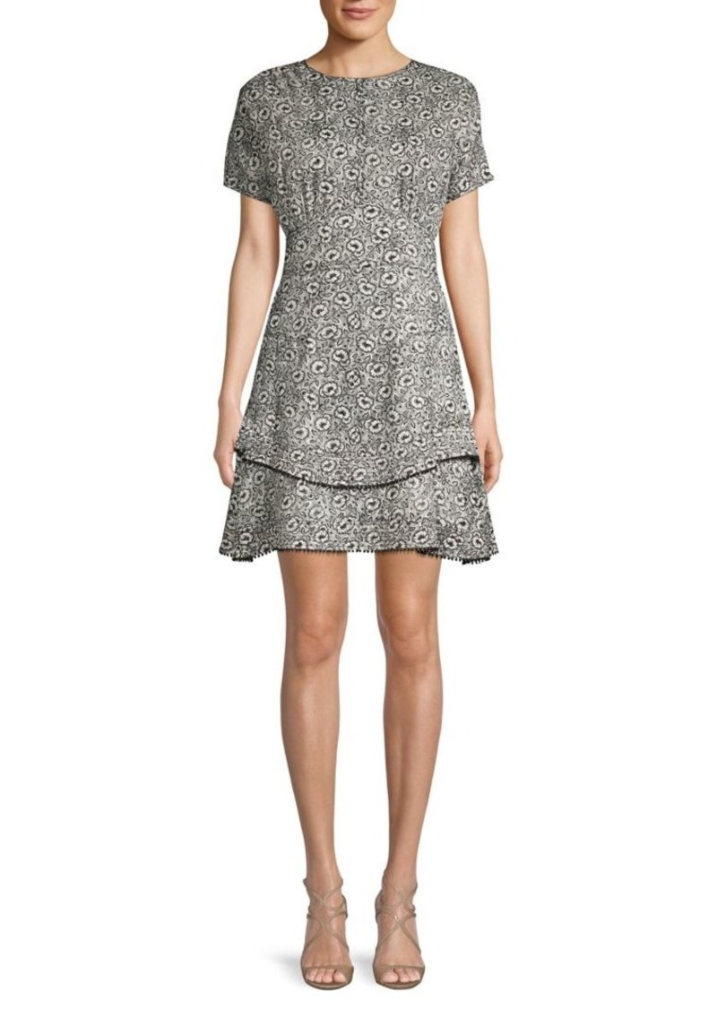 Derek Lam Printed Silk Blend A-Line Dress