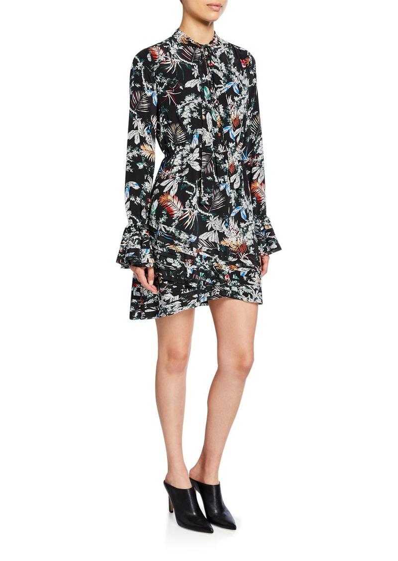 Derek Lam Printed Tie-Neck Long-Sleeve Dress