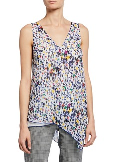 Derek Lam Printed V-Neck Sleeveless Asymmetric Tank