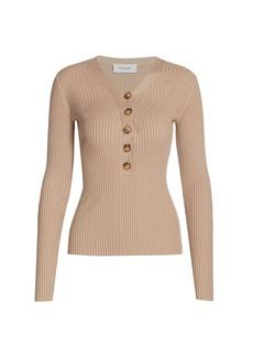 Derek Lam Quincy V-Neck Silk-Cashmere Blend Sweater