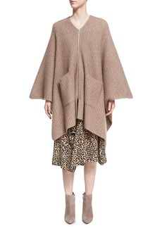 Derek Lam Ribbed Cashmere-Silk Zip-Front Poncho