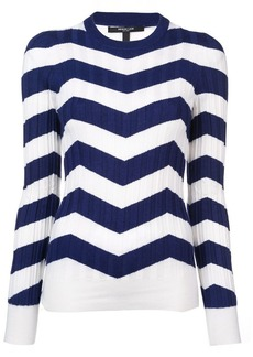 Derek Lam Ribbed Chevron Crewneck Sweater