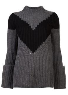 Derek Lam Ribbed Chevron Mockneck Sweater