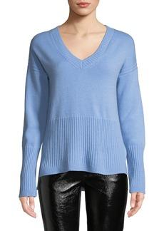 Derek Lam Ribbed V-Neck Cashmere Sweater