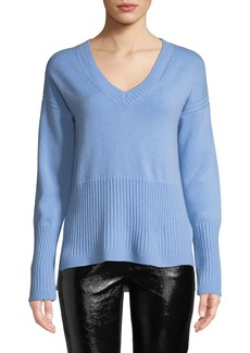 Derek Lam Ribbed V-Neck Cashmere Sweater