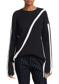 Derek Lam Ribbed Wool Braided Trim Sweater