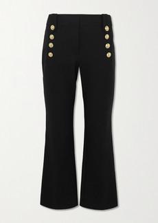 Derek Lam Robertson Cropped Button-embellished Cotton-blend Flared Pants