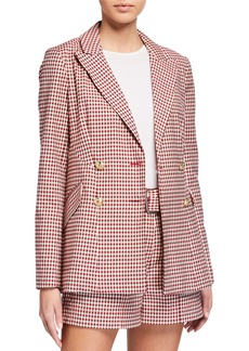 Derek Lam Rodeo Double-Breasted Gingham Blazer