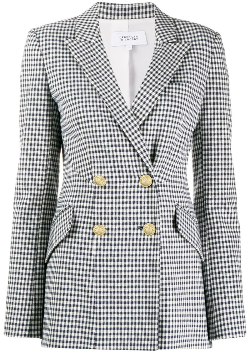Derek Lam Rodeo Double Breasted Gingham Twill Blazer