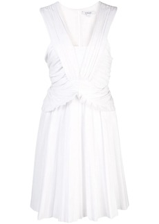Derek Lam Ruched Pleated Cotton Poplin Mini Dress