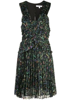 Derek Lam Ruched Pleated Richter Floral Mini Dress