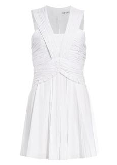 Derek Lam Ruched Pleated Stretch-Linen Mini A-Line Dress