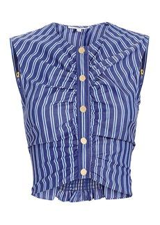 Derek Lam Ruched Striped Crop Top