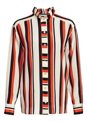 Derek Lam Ruffle-Collar Striped Silk Shirt