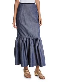Derek Lam Ruffle-Hem Denim Cotton Long Skirt