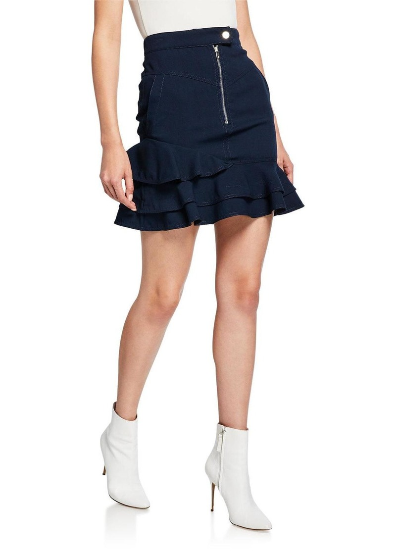 Derek Lam Ruffle-Hem Zip-Front Mini Skirt