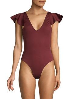Derek Lam Ruffle-Sleeve Malliot Swimsuit